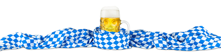 german oktoberfest beer mug in bavarian flag Standard-Bild