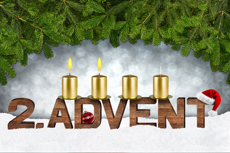 second advent concept with candles and fir branches