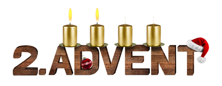 advent time: second advent concept with candles isolated on white background