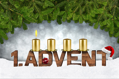 candles: first advent concept with candles and fir branches Stock Photo
