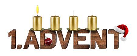 corona de adviento: primer concepto de Adviento con velas aisladas sobre fondo blanco