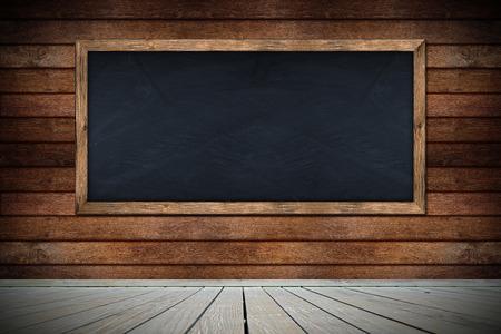 intramural: blackboard on wooden wall with floor