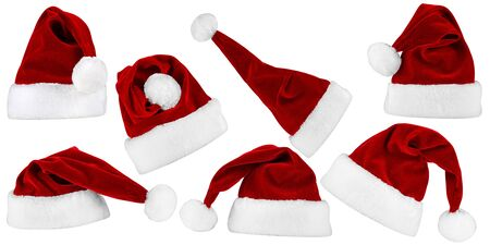 santa hat: collection of red white santa hats