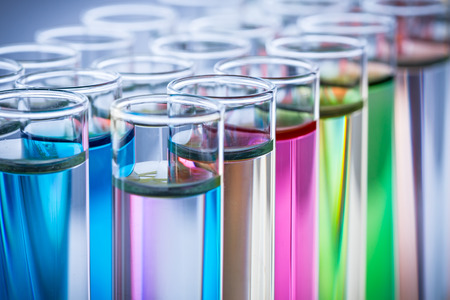 test tubes with colorful chemicals
