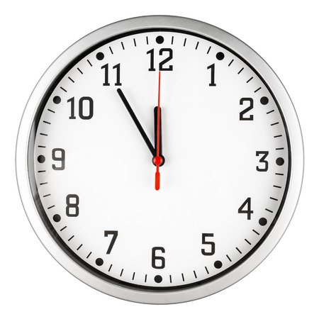 close: 5 to 12 clock concept isolated on white background Stock Photo