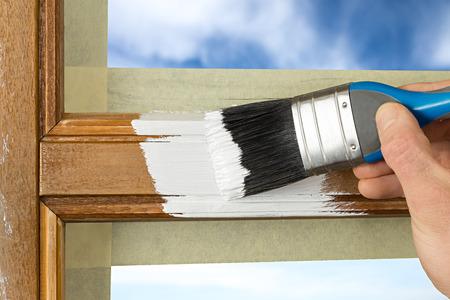 娉婷白色の窓枠 写真素材