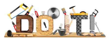 yourselfer: do it! lettering with many tool and parquet panel Stock Photo