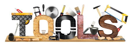 yourselfer: tools lettering with many tool and parquet panel