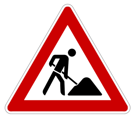 working man: attention roadworks sign on white background