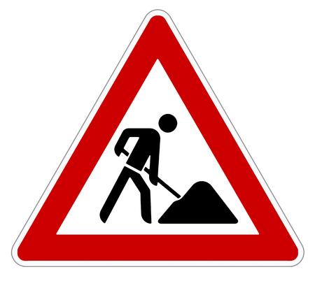 attention roadworks sign on white background 免版税图像 - 52022317