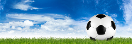 soccer ball on grass: retro black white leather soccer ball on grass in front of blue sky Stock Photo