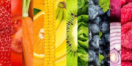 ensalada de frutas: Collage de verduras y frutas de colores Foto de archivo
