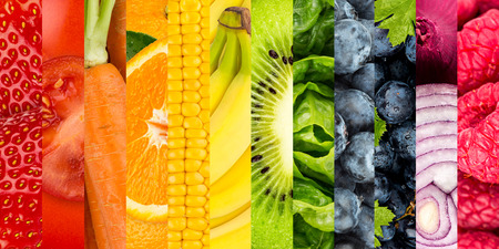 fruit: collage of colorful vegetables and fruits Stock Photo