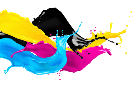 abstract CYMK color splash isolated on white background 写真素材