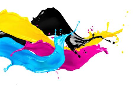 impresion: salpicaduras de color CYMK abstracta aislado sobre fondo blanco