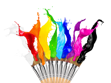colorful color splashes paintbrush row isolated on white background Stok Fotoğraf