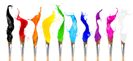 colorful color splashes paintbrush row isolated on white background Foto de archivo