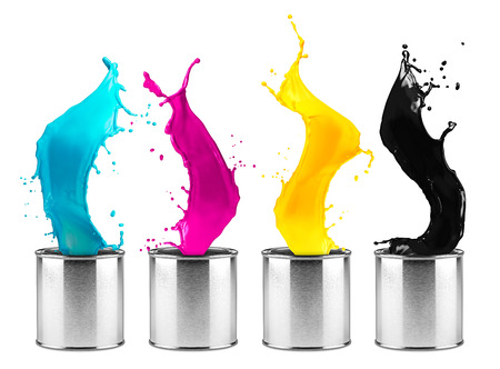 colorful CMYK color dose splash row isolated on white background