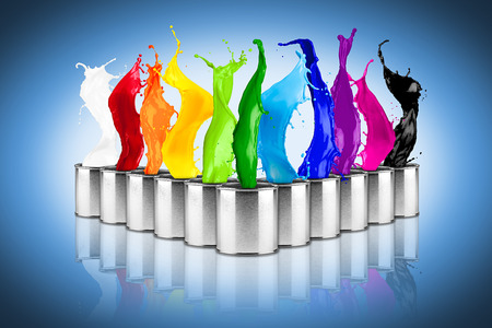 colorful rainbow color dose splash collage on blue background
