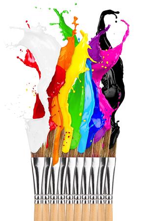 colorful color splashes paintbrush row isolated on white background Stock fotó
