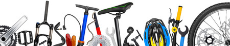 bicycle parts panorama isolated on white background