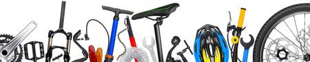 fietsonderdelen panorama op een witte achtergrond
