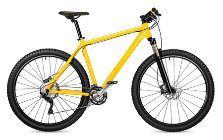 żółta 29er rower górski na białym tle