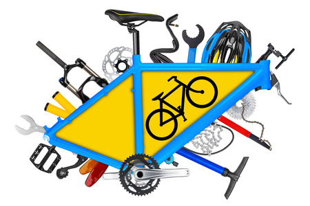 bicycle frame: bicycle frame with parts and road sign symbol isolated on white background Stock Photo
