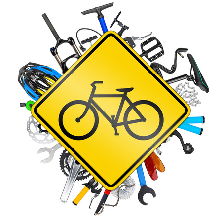 road cycling: bicycle road sign concept with various bike parts isolated on white background Stock Photo