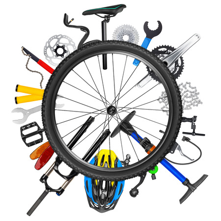 bicycle wheel concept with various bike parts isolated on white background