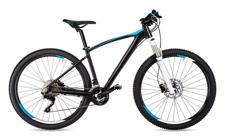 black blue mountain bike isolated on white background Banque d'images