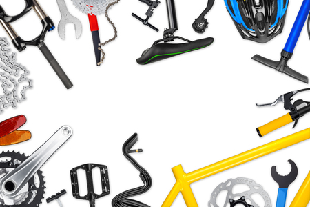 bicycle frame: bicycle frame with parts isolated on white background