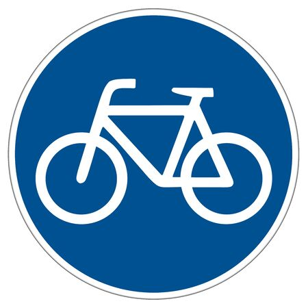sign road: illustration of a german bicycle lane sign isolated on white background