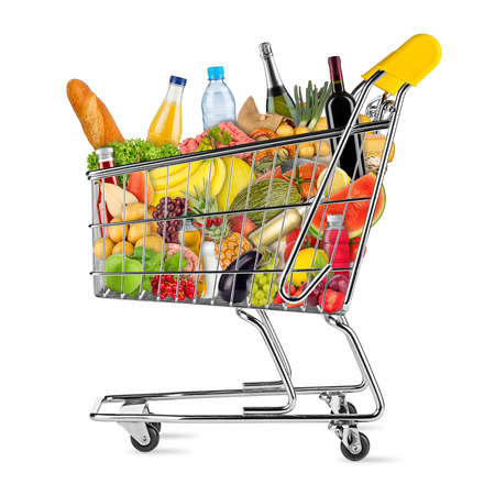 yellow shopping cart filled with various food and beverages isolated on white background Stock Photo - 61038875