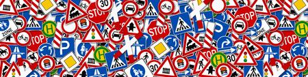 넓은 배경 콜라주 많은 도로 표지판 그림