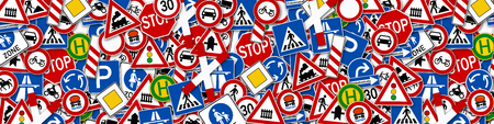 wide background collage of many road sign illustration Foto de archivo
