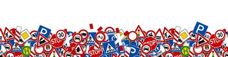 car driving: collage of many road sign illustration isolated on white background Stock Photo