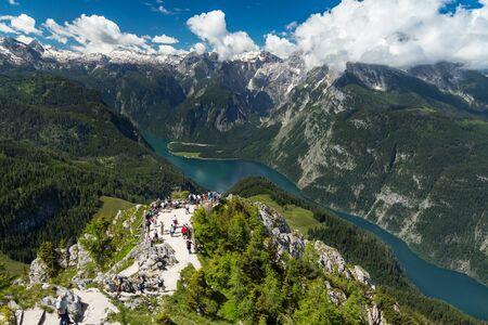 top mountain: view from the top of jenner mountain at the koenigssee in the bavarian alps
