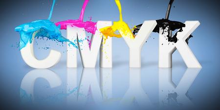paint splash: CMYK paint splash on letters on blue background