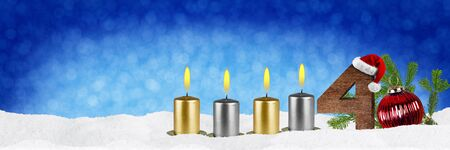 fourth sunday of advent concept xmas panorama blue background with candles ball bauble snow and red silver decorated fir branches