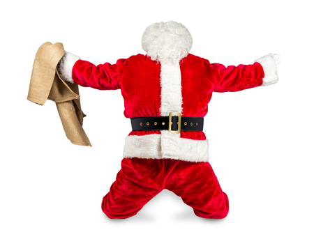 freak out: funny crazy hilarious red white santa claus celebration clench fist holding bag in the air job done isolated on white background