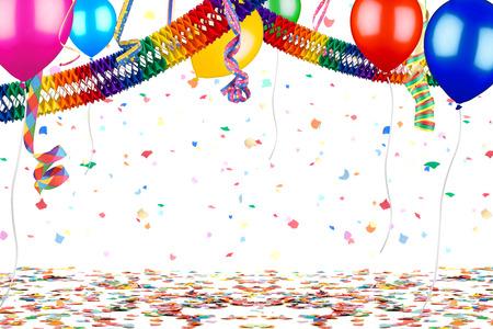 Kleurrijke lege partij carnaval verjaardag viering achtergrond met kleurrijke streamer luchtballon slinger geïsoleerd op wit Stockfoto - 71965462