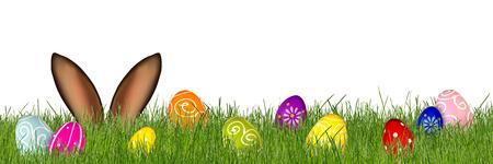カラフルな草原の背後にあるイースターのウサギの耳装飾塗装卵分離パノラマ背景