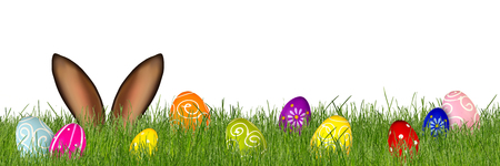 easter bunny ears behind meadow with colorful decorated painted eggs isolated panorama background