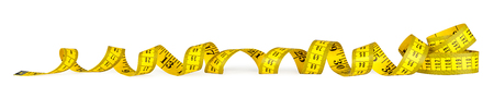 yellow isolated metric measuring tape on white panorama background