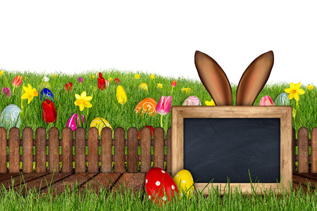 easter bunny ears behind meadow with colorful decorated painted eggs empty blackboard wooden jetty tulips daffodils isolated on white background Stock Photo