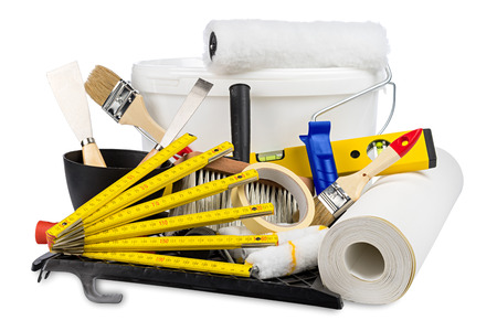 renovation decoration diy tools and paint bucket isolated on white background Standard-Bild