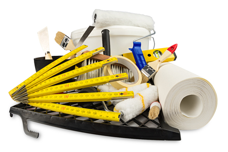 renovation decoration diy tools and paint bucket isolated on white background Stock Photo