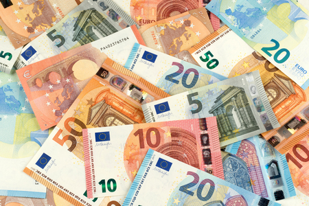 five cents: many euro bank note currency finance background