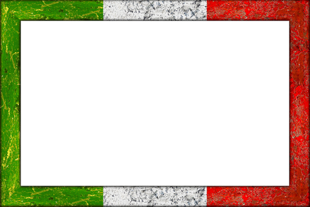 empty wooden picture or blackboard frame in italian italy flag design isolated on white background